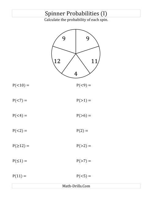 The 5 Section Spinner Probabilities (I) Math Worksheet