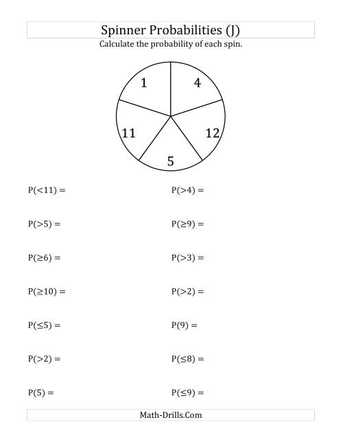 The 5 Section Spinner Probabilities (J) Math Worksheet