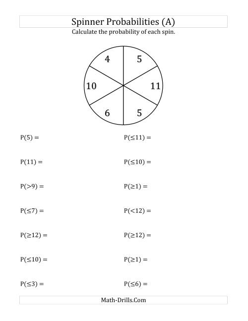 The 6 Section Spinner Probabilities (A) Math Worksheet