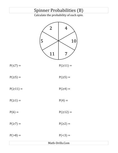 The 6 Section Spinner Probabilities (B) Math Worksheet