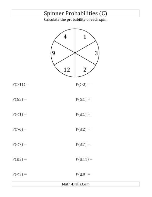 The 6 Section Spinner Probabilities (C) Math Worksheet