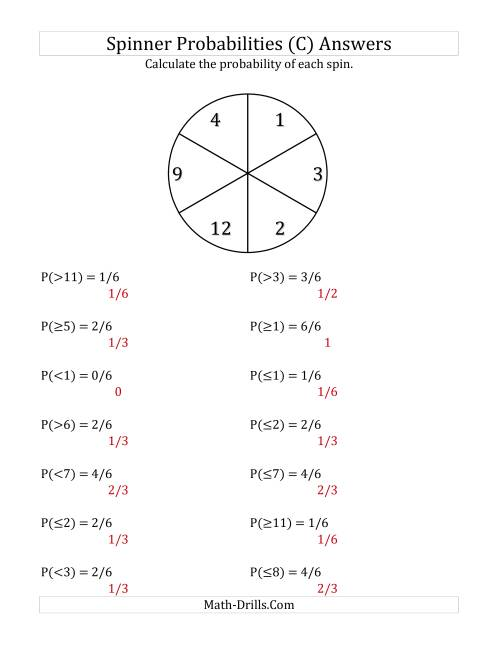 The 6 Section Spinner Probabilities (C) Math Worksheet Page 2