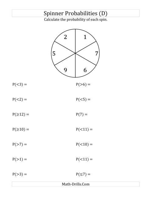 The 6 Section Spinner Probabilities (D) Math Worksheet