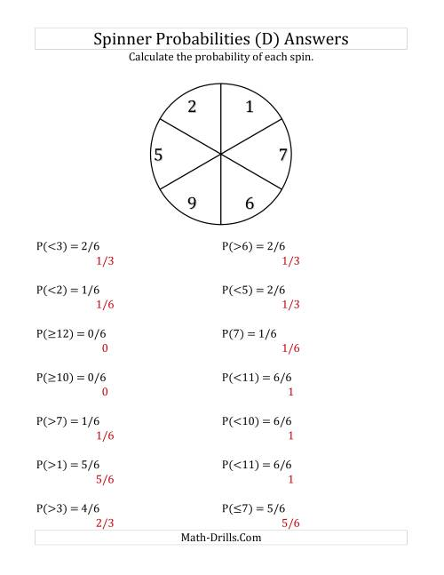The 6 Section Spinner Probabilities (D) Math Worksheet Page 2