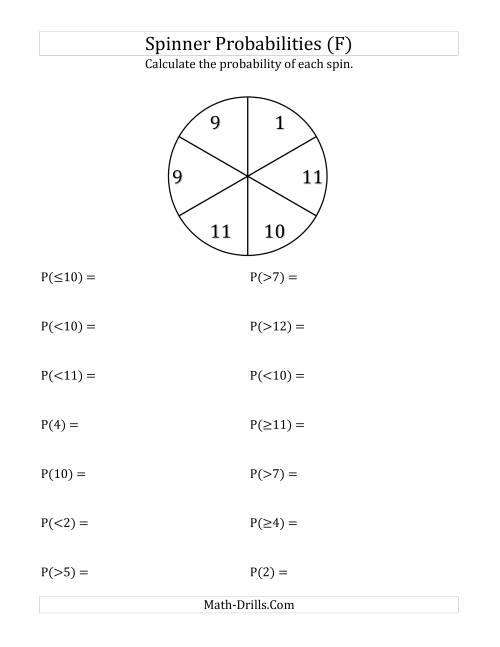 The 6 Section Spinner Probabilities (F) Math Worksheet