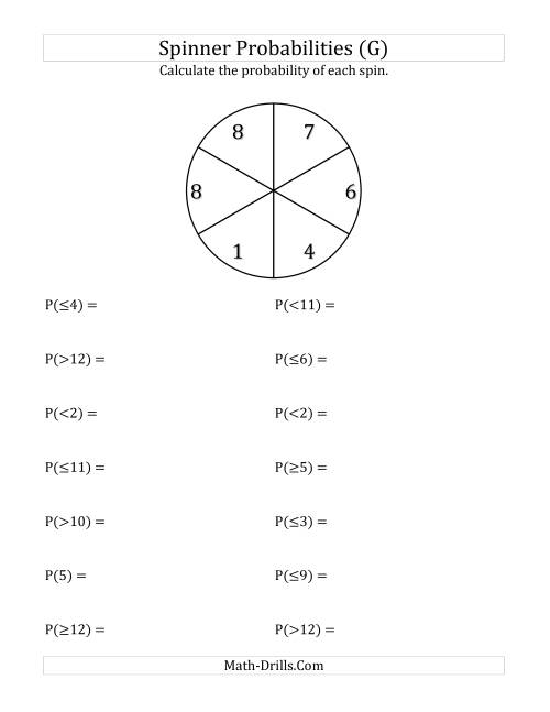 The 6 Section Spinner Probabilities (G) Math Worksheet