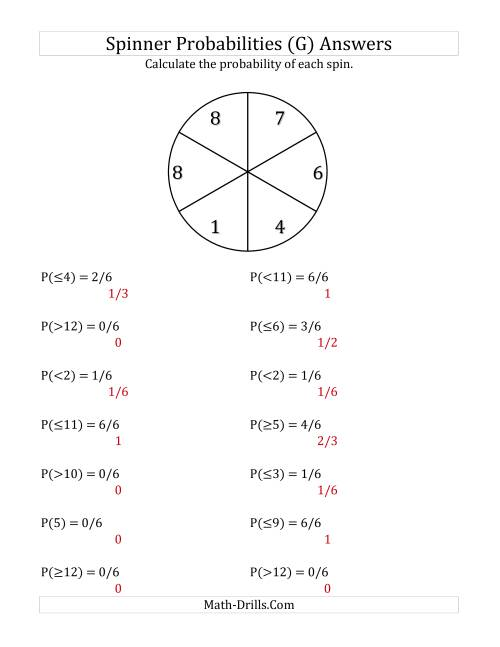 The 6 Section Spinner Probabilities (G) Math Worksheet Page 2
