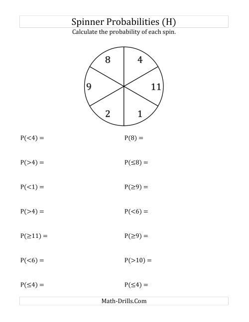 The 6 Section Spinner Probabilities (H) Math Worksheet
