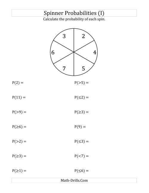 The 6 Section Spinner Probabilities (I) Math Worksheet