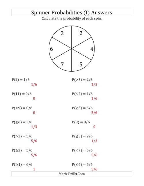 The 6 Section Spinner Probabilities (I) Math Worksheet Page 2