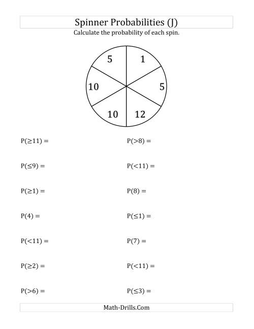 The 6 Section Spinner Probabilities (J) Math Worksheet