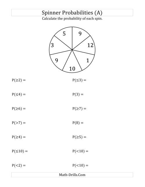 7 Section Spinner Probabilities A – Probability Worksheet