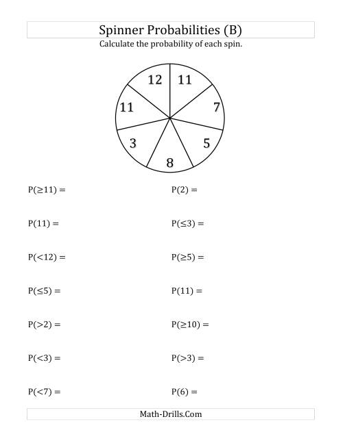 The 7 Section Spinner Probabilities (B) Math Worksheet
