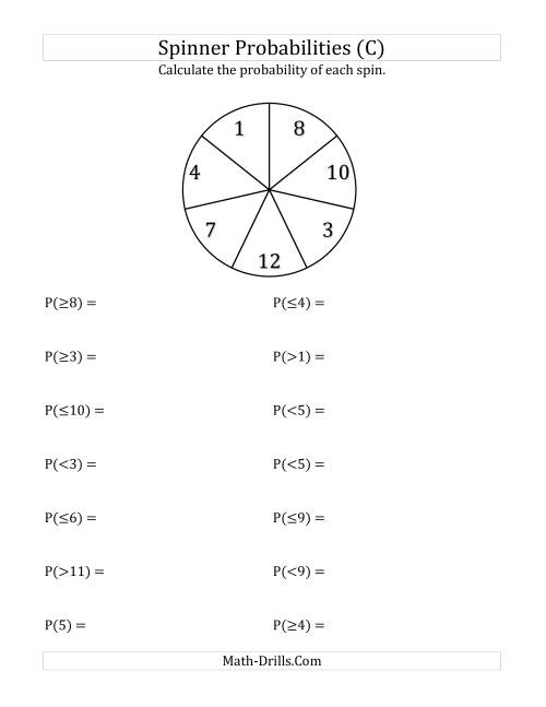 The 7 Section Spinner Probabilities (C) Math Worksheet