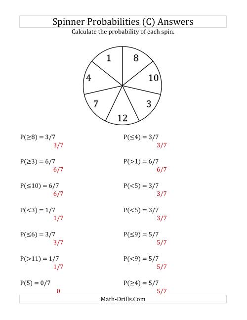 The 7 Section Spinner Probabilities (C) Math Worksheet Page 2