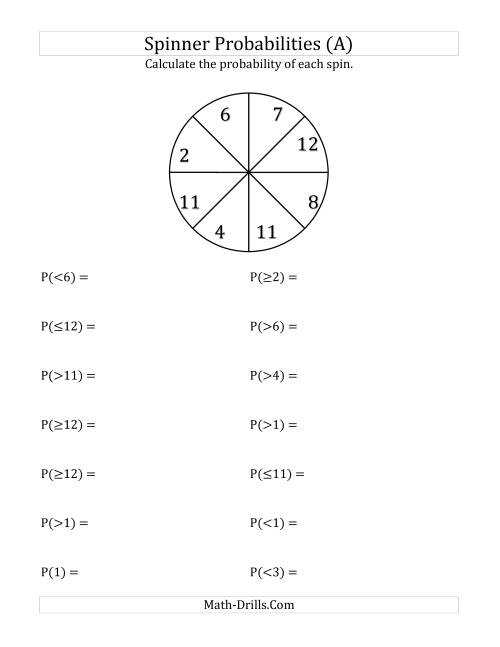 math worksheet : 8 section spinner probabilities a statistics worksheet : Statistics Math Worksheets
