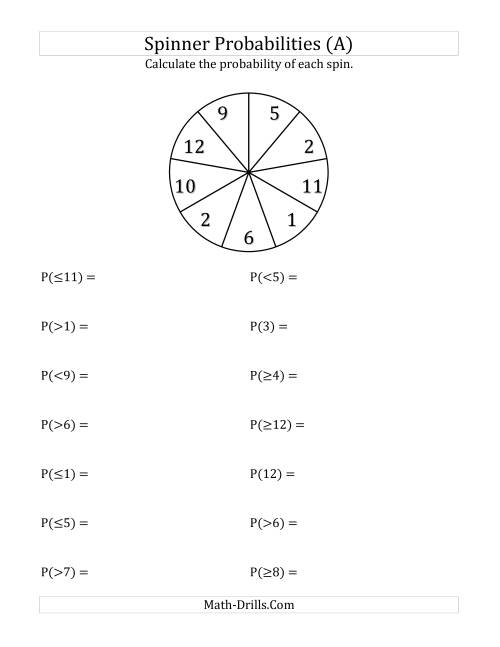 worksheet Probability Spinner 9 section spinner probabilities a the a