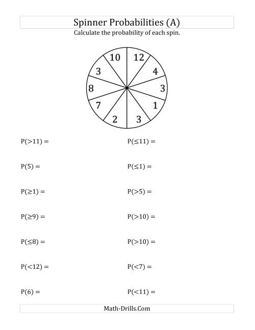 The 10 Section Spinner Probabilities (A) Math Worksheet