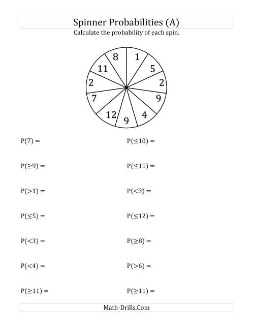 math worksheet : 11 section spinner probabilities a statistics worksheet : Probability Math Worksheets