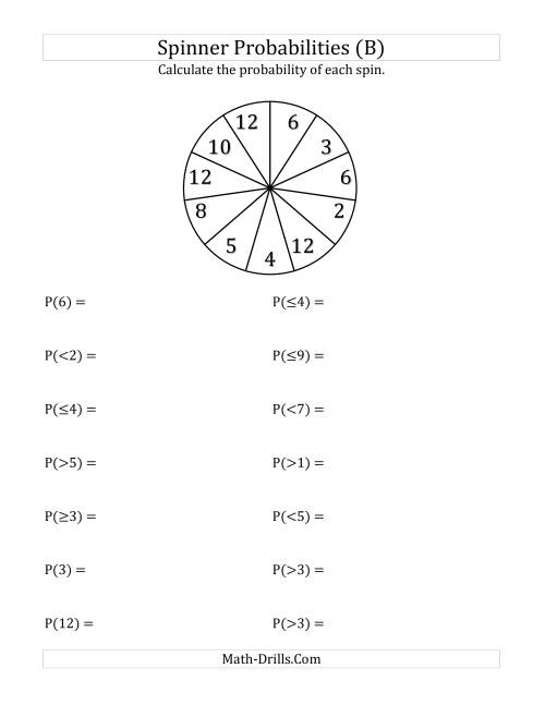 The 11 Section Spinner Probabilities (B) Math Worksheet