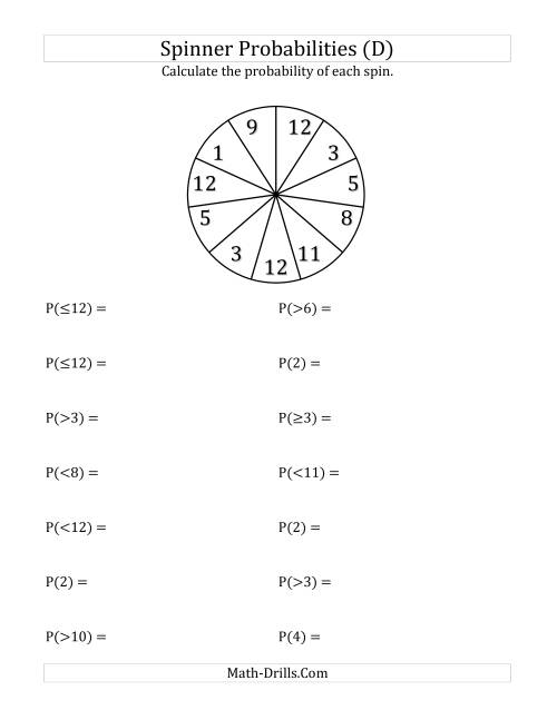 The 11 Section Spinner Probabilities (D) Math Worksheet