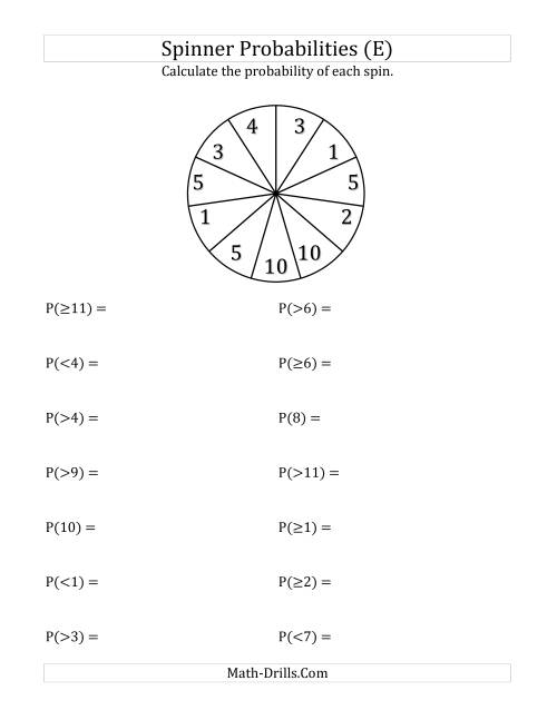 The 11 Section Spinner Probabilities (E) Math Worksheet
