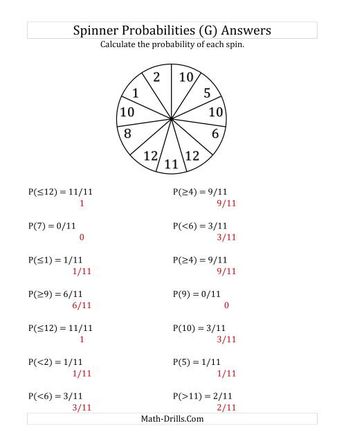 The 11 Section Spinner Probabilities (G) Math Worksheet Page 2