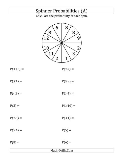 12 Section Spinner Probabilities (A) Statistics WorksheetThe 12 Section Spinner Probabilities (A) Statistics Worksheet