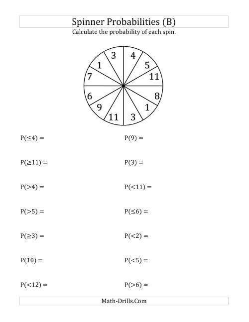 The 12 Section Spinner Probabilities (B) Math Worksheet