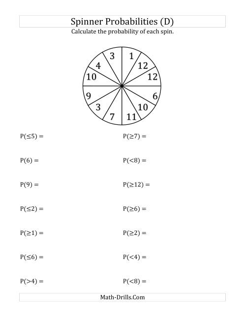 The 12 Section Spinner Probabilities (D) Math Worksheet