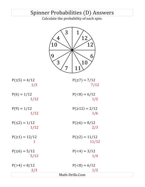 The 12 Section Spinner Probabilities (D) Math Worksheet Page 2