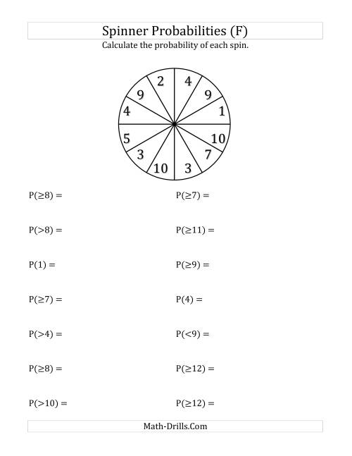 The 12 Section Spinner Probabilities (F) Math Worksheet