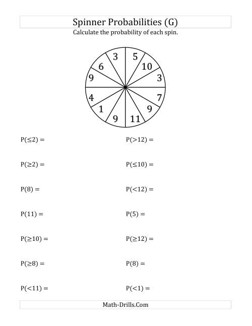 The 12 Section Spinner Probabilities (G) Math Worksheet