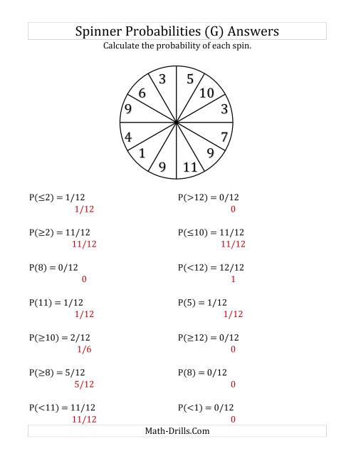 The 12 Section Spinner Probabilities (G) Math Worksheet Page 2