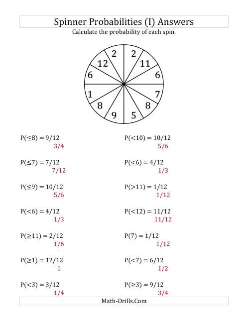 The 12 Section Spinner Probabilities (I) Math Worksheet Page 2
