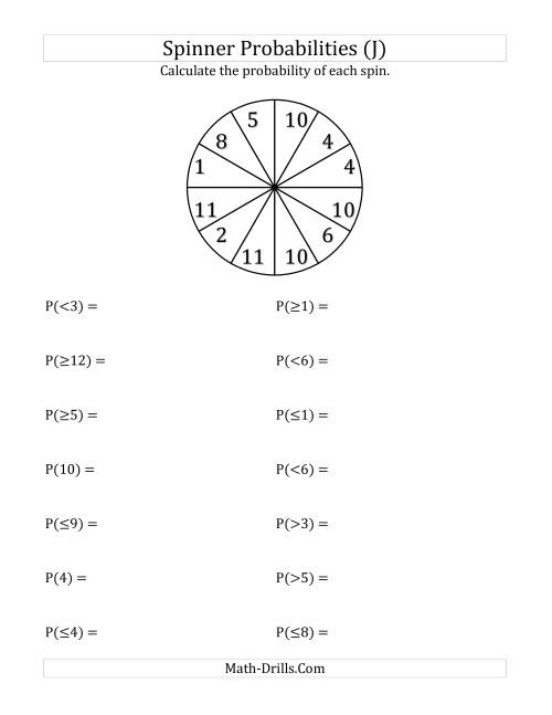 The 12 Section Spinner Probabilities (J) Math Worksheet