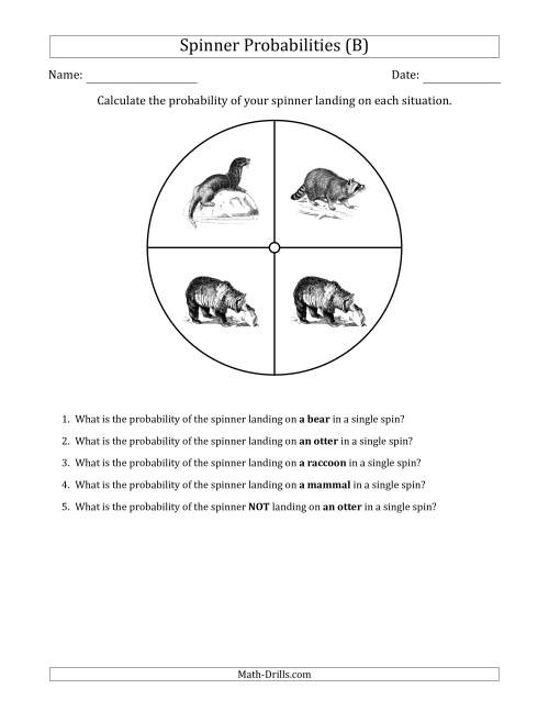 The Non-Numerical Spinners with Pictures (4 Sections) (B) Math Worksheet