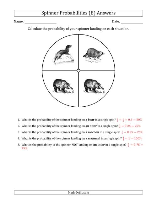The Non-Numerical Spinners with Pictures (4 Sections) (B) Math Worksheet Page 2