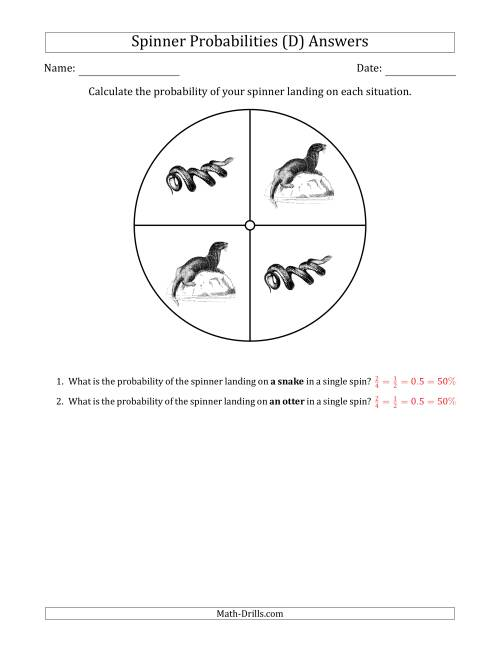 The Non-Numerical Spinners with Pictures (4 Sections) (D) Math Worksheet Page 2