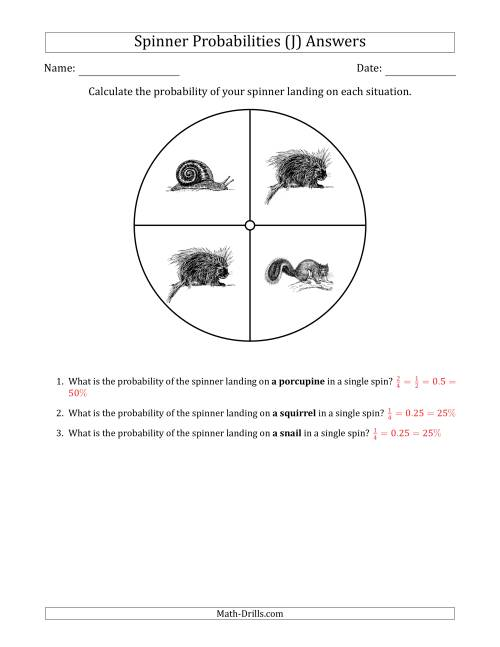The Non-Numerical Spinners with Pictures (4 Sections) (J) Math Worksheet Page 2