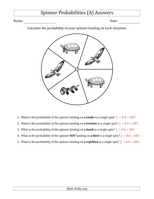 The Non-Numerical Spinners with Pictures (5 Sections) (A) Math Worksheet Page 2