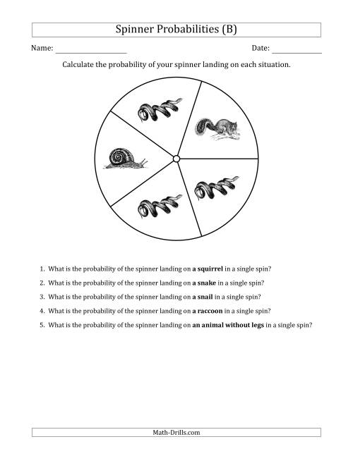 The Non-Numerical Spinners with Pictures (5 Sections) (B) Math Worksheet