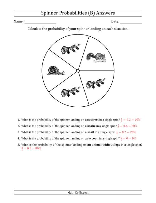 The Non-Numerical Spinners with Pictures (5 Sections) (B) Math Worksheet Page 2