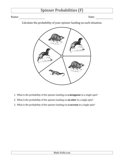 The Non-Numerical Spinners with Pictures (5 Sections) (F) Math Worksheet