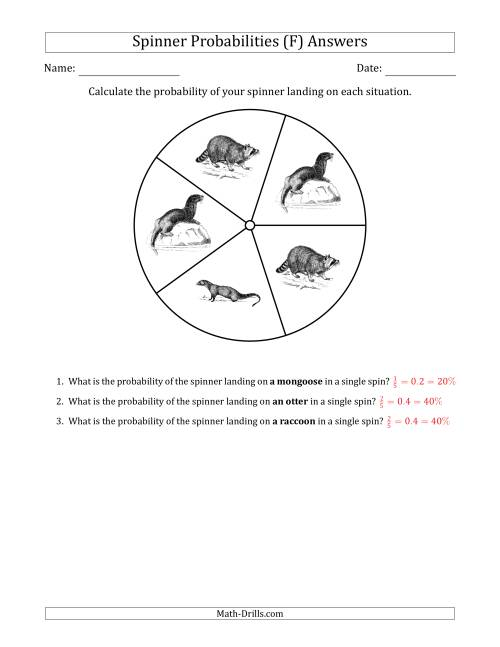 The Non-Numerical Spinners with Pictures (5 Sections) (F) Math Worksheet Page 2