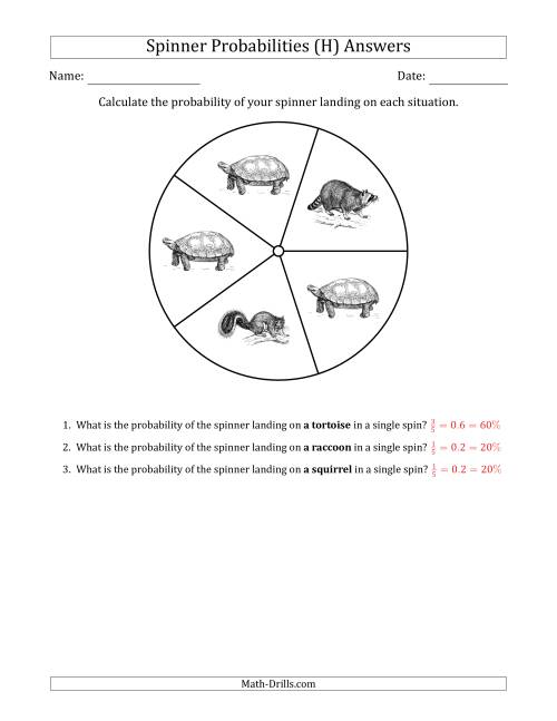 The Non-Numerical Spinners with Pictures (5 Sections) (H) Math Worksheet Page 2
