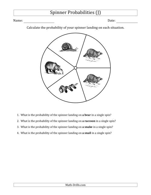 The Non-Numerical Spinners with Pictures (5 Sections) (J) Math Worksheet