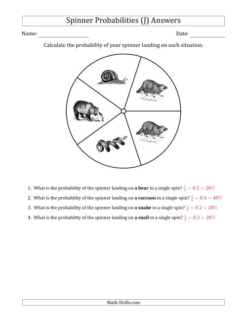 The Non-Numerical Spinners with Pictures (5 Sections) (J) Math Worksheet Page 2