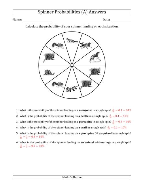 The Non-Numerical Spinners with Pictures (10 Sections) (A) Math Worksheet Page 2