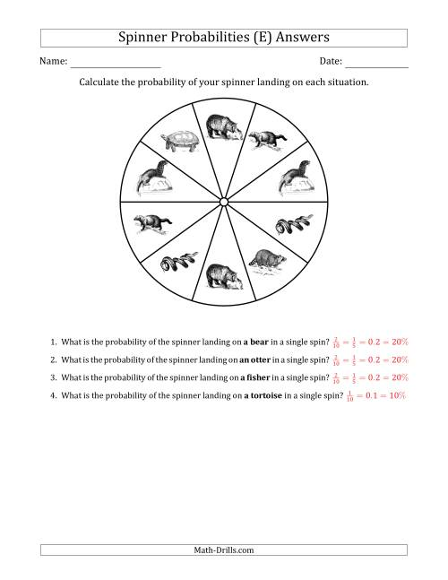 The Non-Numerical Spinners with Pictures (10 Sections) (E) Math Worksheet Page 2